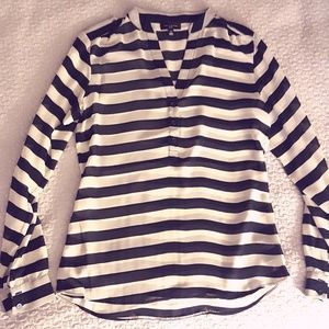 Striped Navy and Ivory Blouse